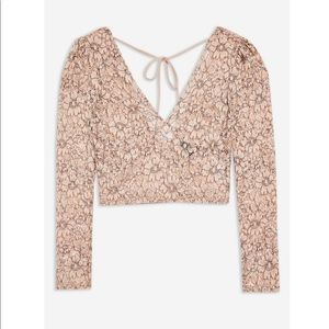 Topshop pink nude lace crop plunge top